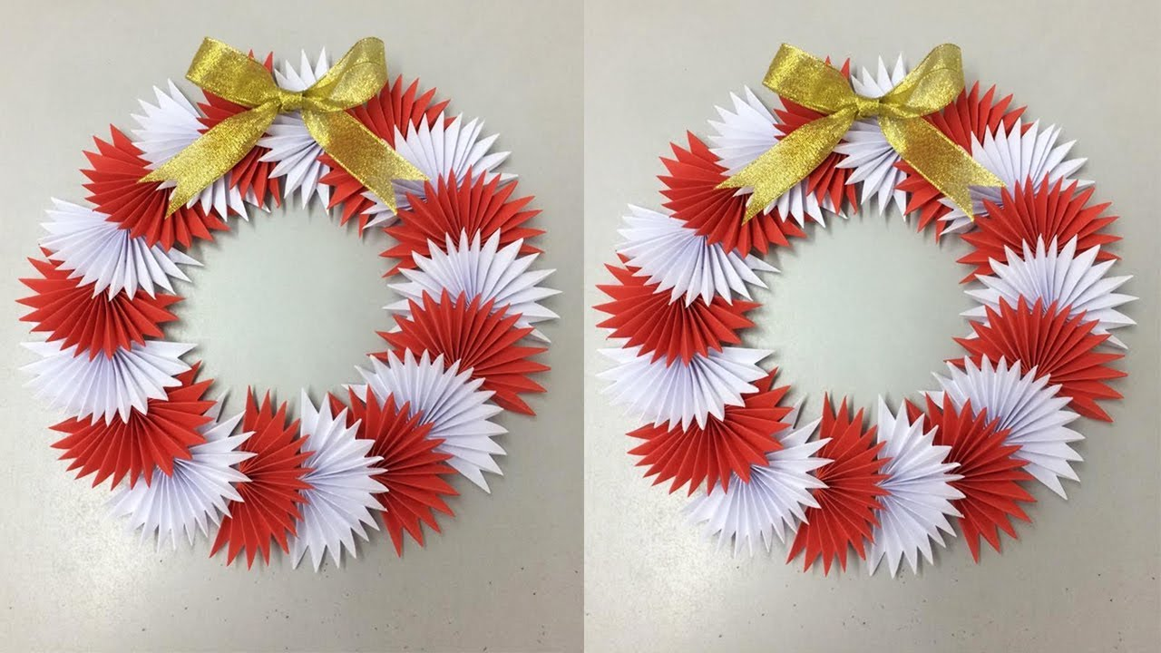 Beautiful Paper Wreath How To Make Paper Christmas Wreath Christmas Decorations Ideas