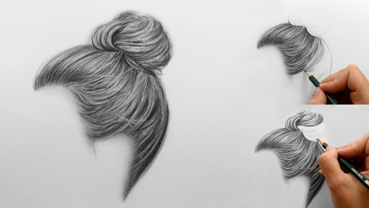 Step By Step How To Draw Shade Realistic Hair Bun With Pencils Emmy Kalia