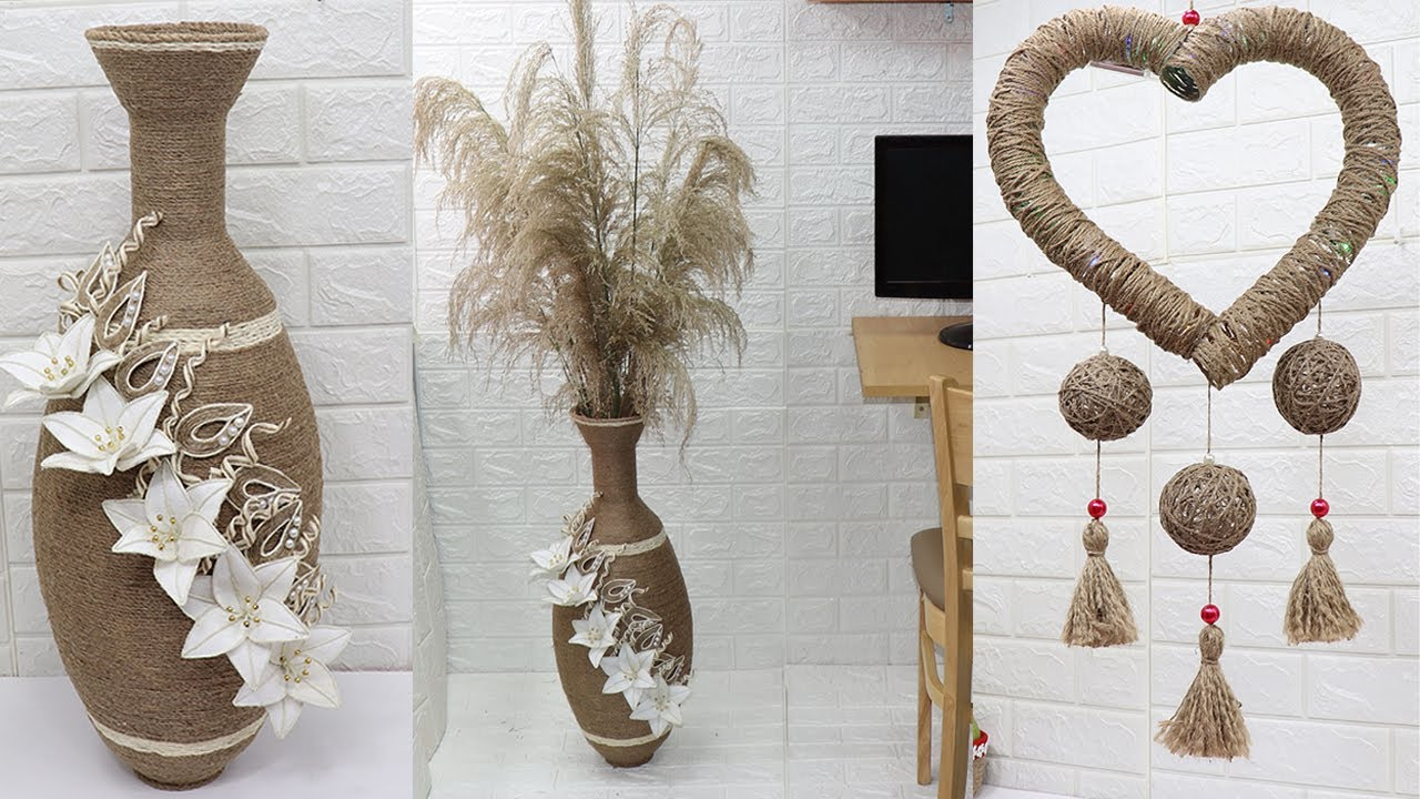 5 Jute Craft Ideas Flower Vase Wall Haging Gift Storage Basket