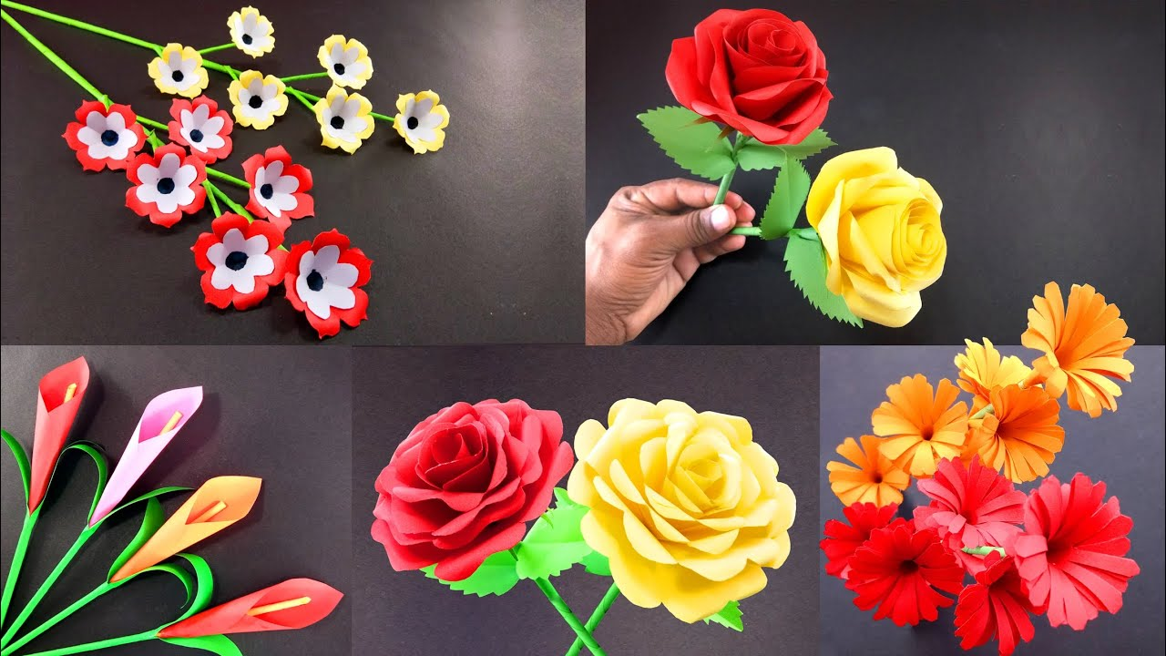 5 Beautiful Paper Sticky Gift Flower Easy Room Decoration Ideas Paper Craft Easy Diy Crafts 2