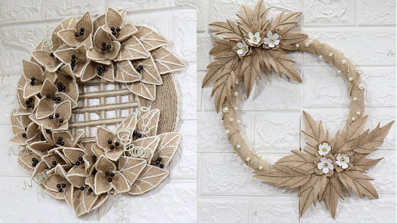 5 Jute Wreath Craft Idea Home Decorating Ideas Handmade Wall Hanging