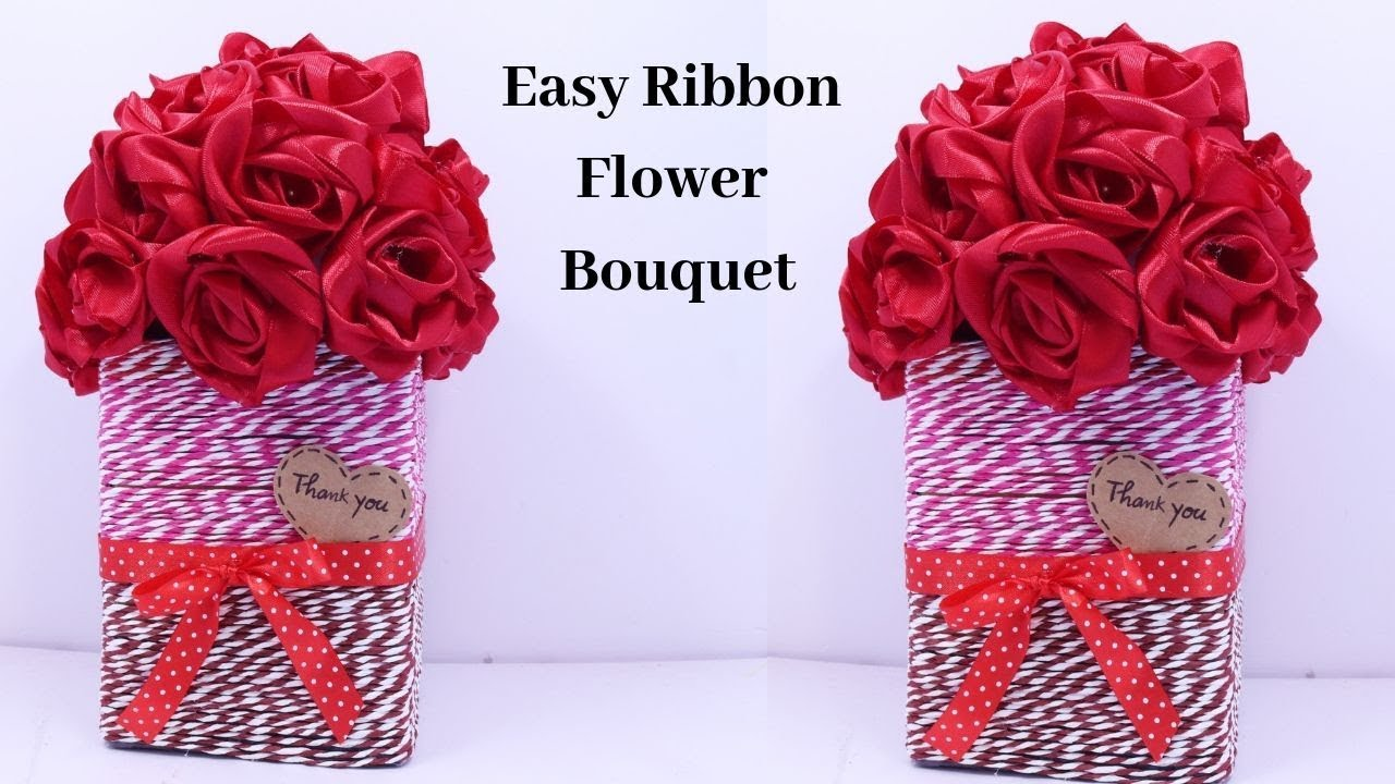 How To Make Flower Bouquet Diy Ribbon Flower Bouquet Making Idea By Aloha Crafts