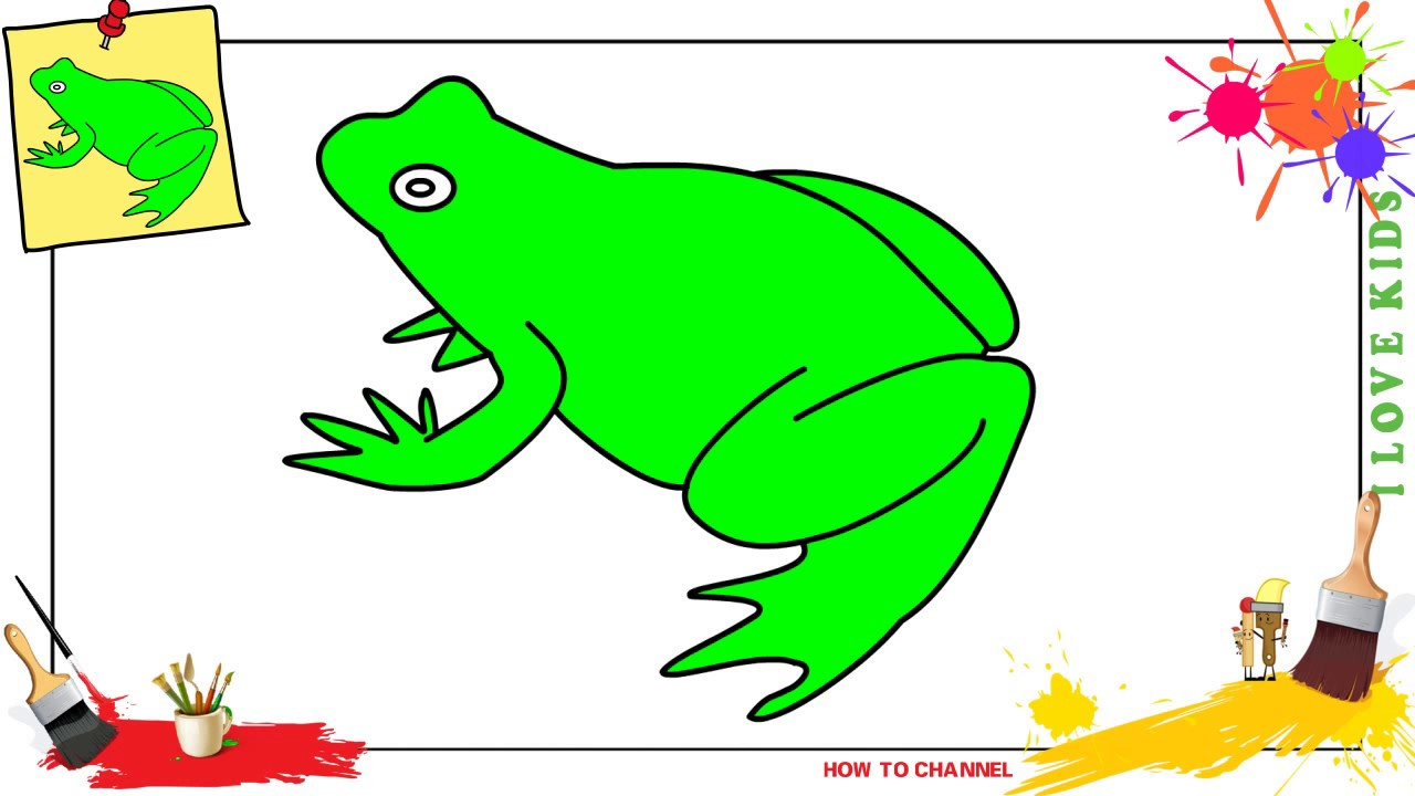 How to draw a frog 3 EASY & SLOWLY step by step for kids ...
