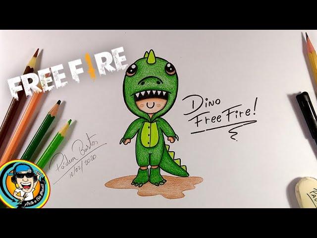como desenhar dino do free fire kawaiicartoon  super fÁcil