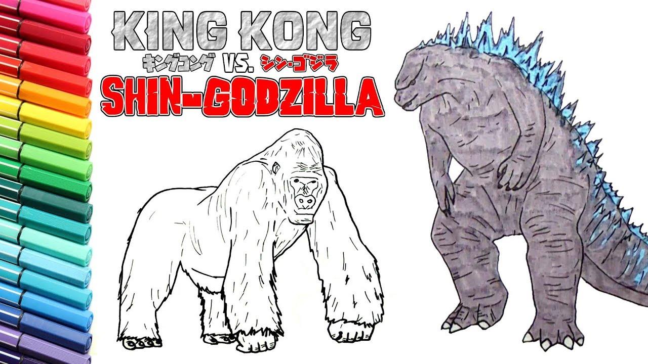 Godzilla VS King Kong Drawing and Coloring For Kids ...