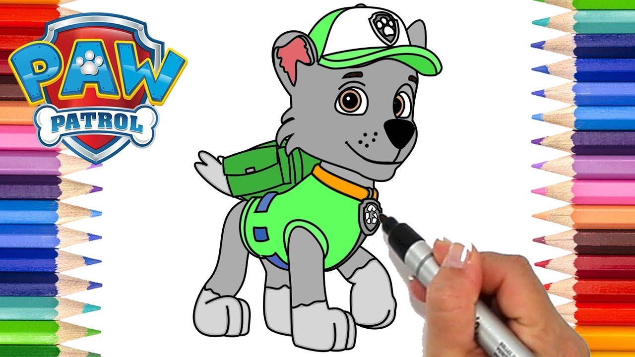 how to draw paw patrol rocky  coloring pages for kids
