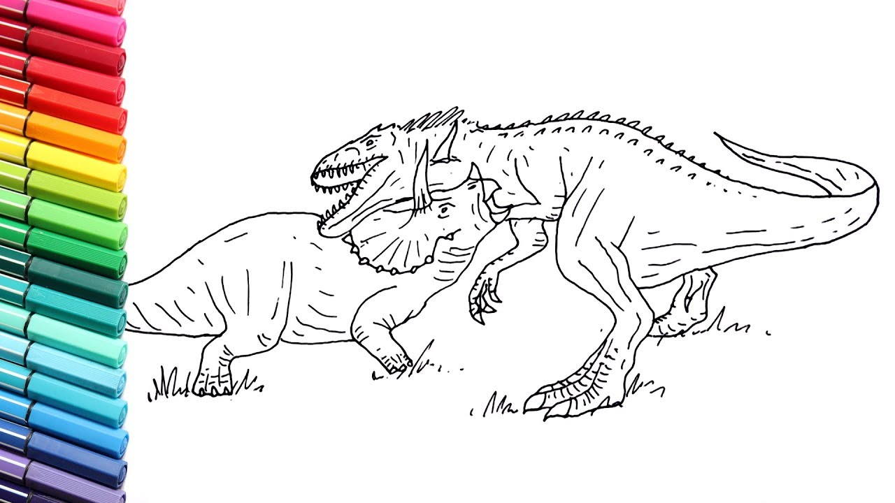 How to Draw Indominus Rex VS Triceratops - Drawing And ...