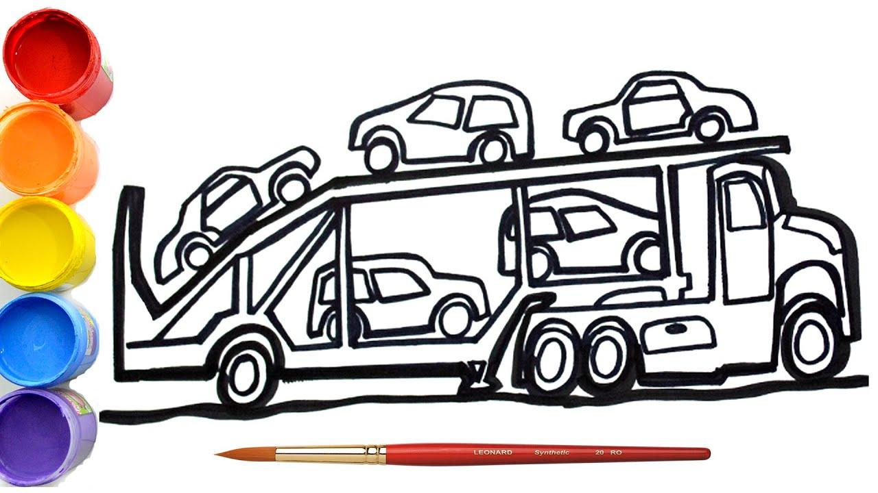 cara menggambar dan mewarnai truck transporter mobil